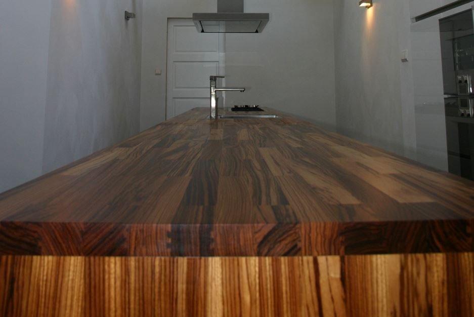 Massief houten Zebrano werkblad